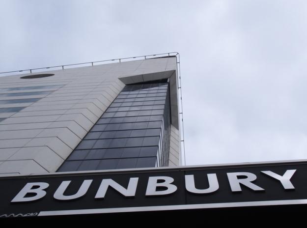 View of the Bunbury 'milk-carton' Tower on Victoria Street and Wanda Ariano's MOSAIC choice