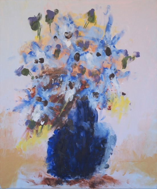 Blue Vase of Flowers by Roslyn Burns