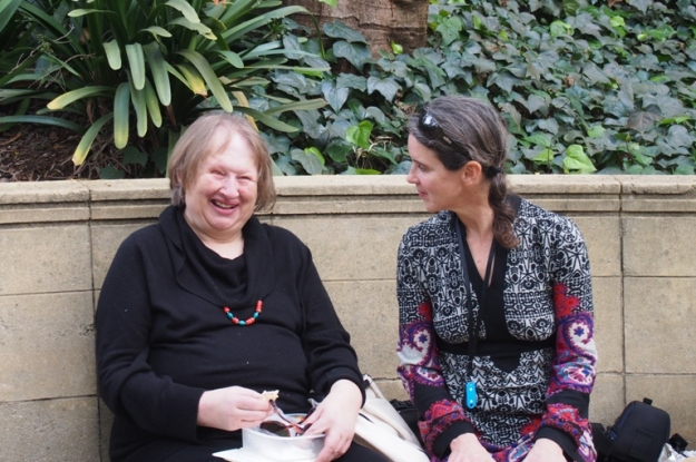 Janine Egan with  Wanda Ariano in the Sunken Garden at the University of Western Australia