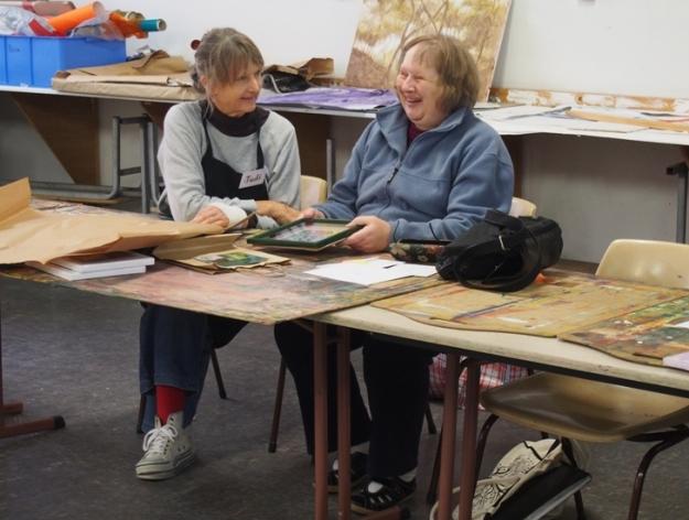 Judi McGuigan and Janine Egan in the studio at the Bunbury Regional Art Galleries