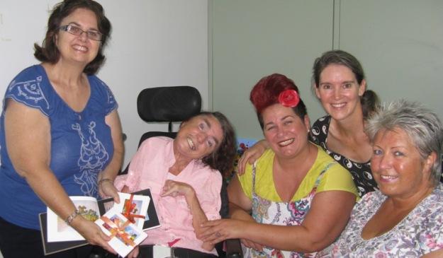 Lois Waldin, Roslyn Burns, Tracey Musham, Wanda Ariano and Michaela Lindberg-Buck at Roslyn's card launch