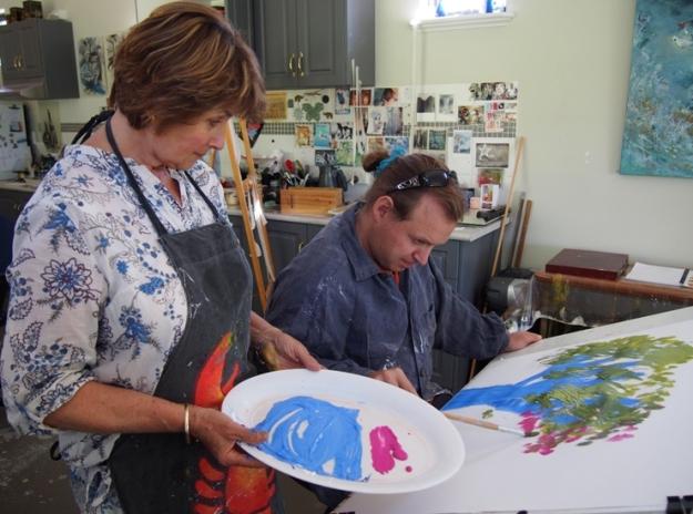 Dan working on Blowing in the Wind with artist Anastasija Komarnyckyj