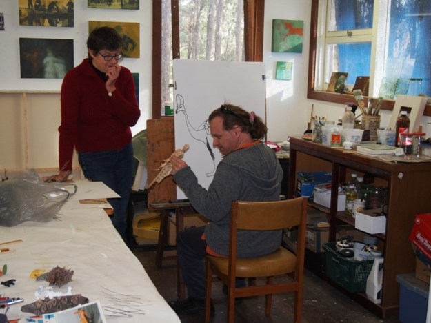 Dan with artist Marina Troitsky in her studio at Chapman Hill