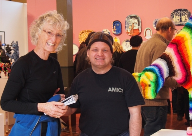 Dan with artist Helen Seiver at the Gould Galleries stand at the Melbourne Art Fair,  2012