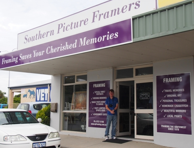 Sam in front of Southern Picture Framers