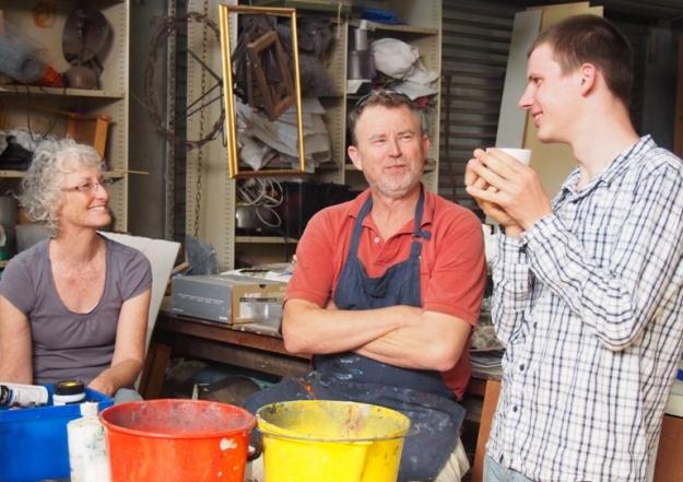 Keon with Helen Seiver and Simon Hemsley in Helen's Capel studio
