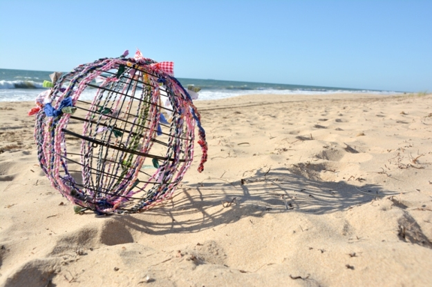 The beginning of the One World Globe as photographed on a Bunbury Beach.  Photo: Carensa Werder