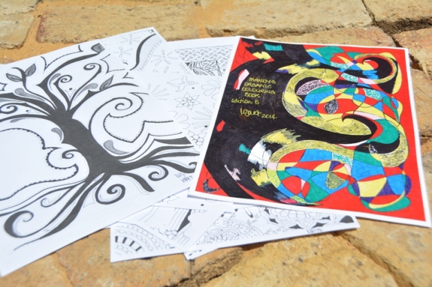 Mandy's Organic Colouring Book by Amanda Doust. Photo by Carensa Werder