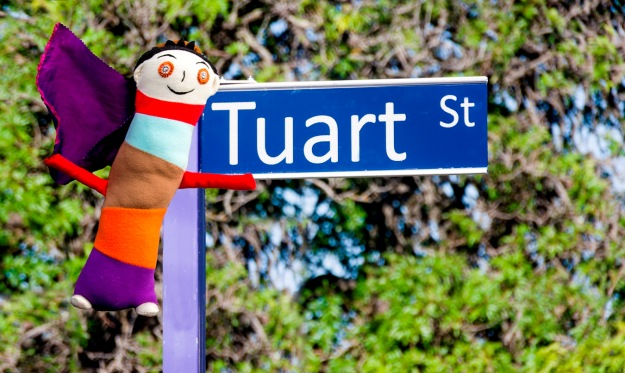 Apple Girl visits Tuart St. Image by Rob Cox