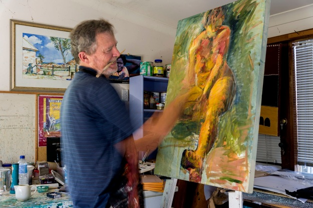 Simon Hemsley at work in his studio. Photo by Rob Cox