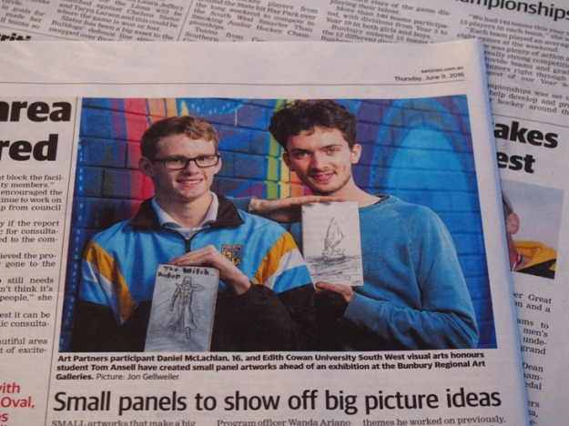 Daniel and Tom with their 9 x 5 inch artworks in the South Western Times, June 9, 2016. Photo by Jon Gellweiler