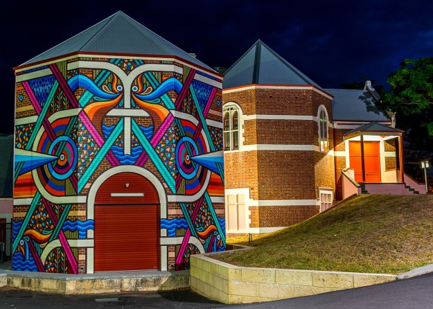 Beastman mural night view. Photo by Rob Cox